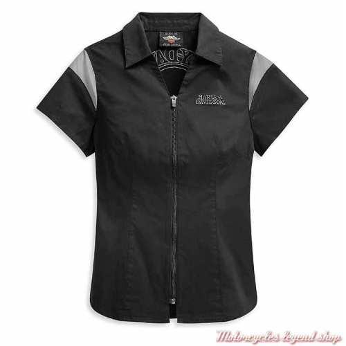 Chemisier Skull Logo Harley-Davidson femme, zippée, coton, noir, gris, manches courtes, dos, 99055-21VW