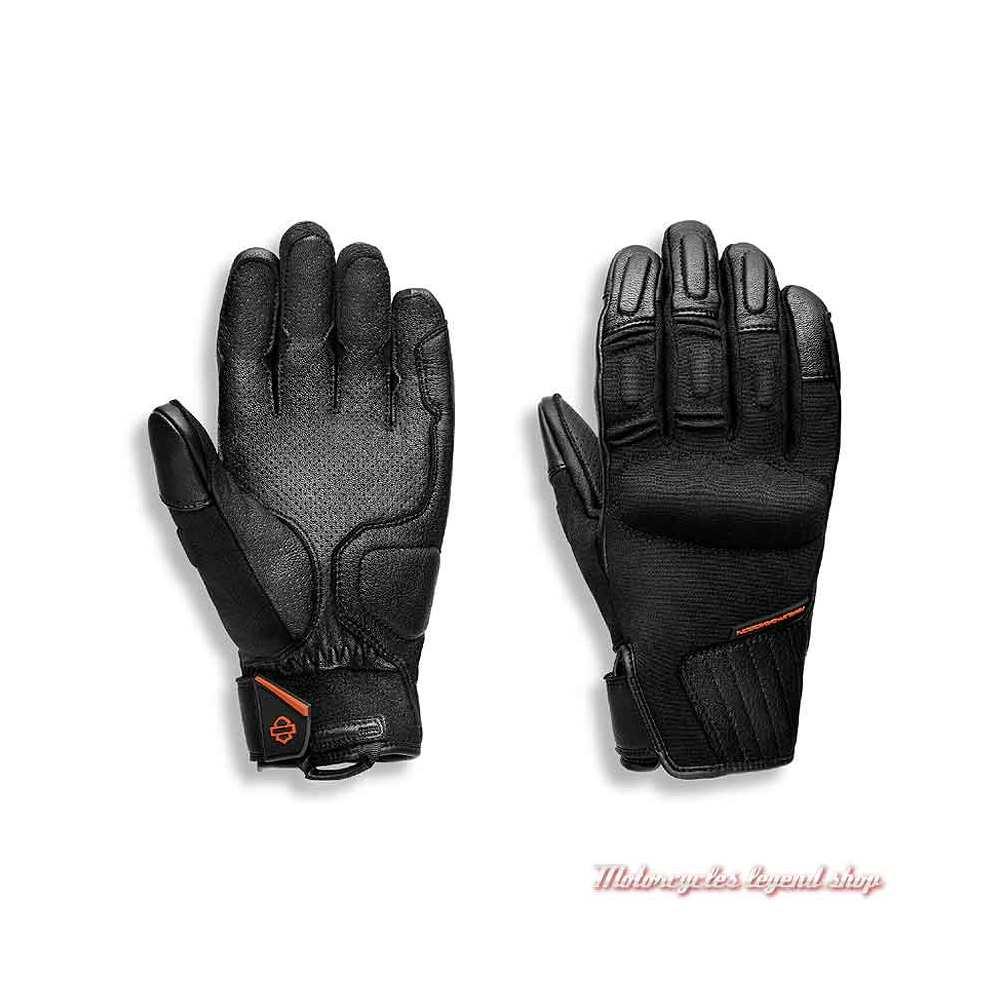 Gants Brawler Harley-Davidson homme, tissu et cuir, Coolcore, noir, 98102-21EM