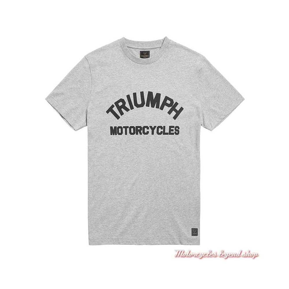 Tee-shirt Burnham Grey Marl homme Triumph, manches courtes, coton, gris clair, MTSS21001