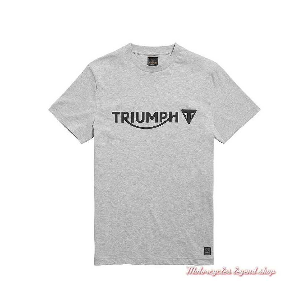 Tee-shirt Cartmel Grey Marl homme Triumph, manches courtes, coton, gris clair, MTSS21007
