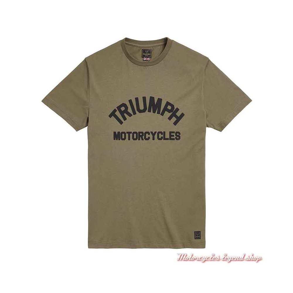 Tee-shirt Burnham Khaki homme Triumph, manches courtes, coton, MTSS20041