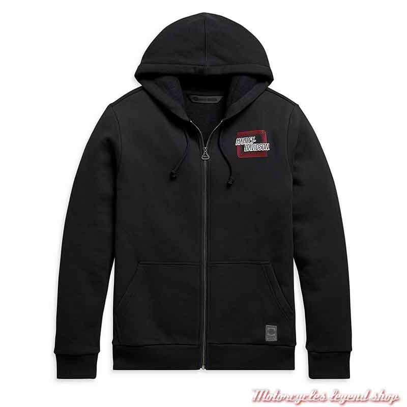 Sweatshirt Retro Outline Harley-Davidson homme, noir, zippé à capuche, coton, 99097-20VH