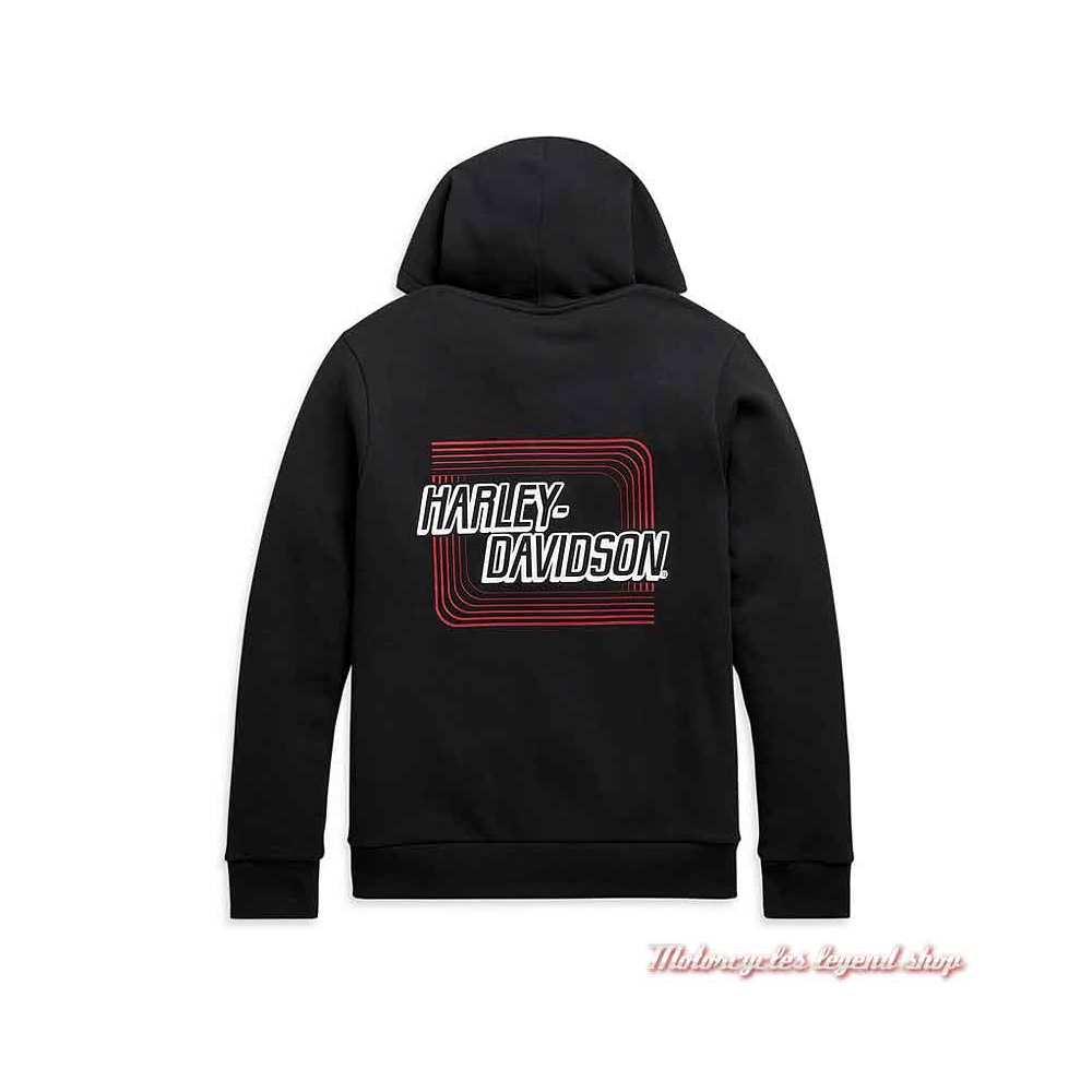 Sweatshirt Retro Outline Harley-Davidson homme, noir, zippé à capuche, coton, dos, 99097-20VH