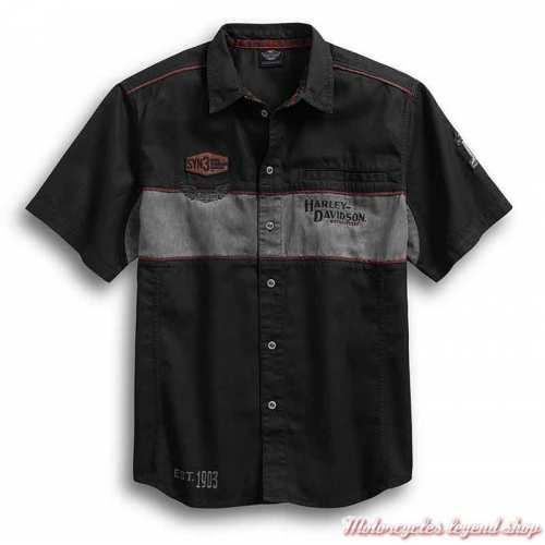 Chemisette Iron Block Harley-, noir, gris, délavé, coton, 99018-17VMDavidson homme
