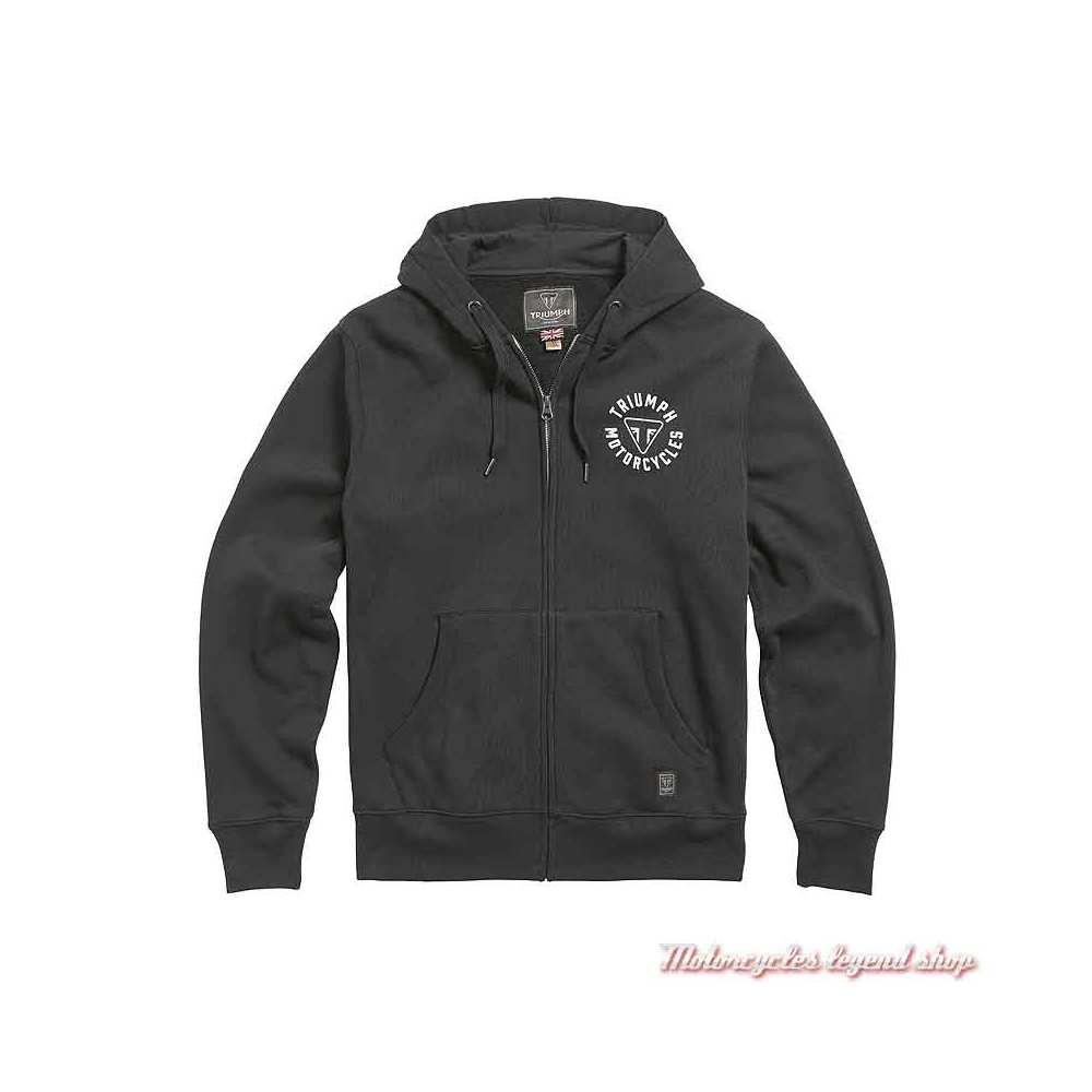 Sweatshirt Digby Jet Black homme Triumph, zippé, à capuche, coton, MSWS21015