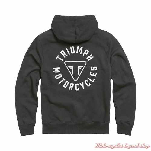Sweatshirt Digby Jet Black homme Triumph, zippé, à capuche, coton, dos, MSWS21015