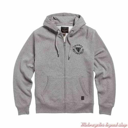 Sweatshirt Digby Gris clair homme Triumph, zippé, à capuche, coton, MSWS21016