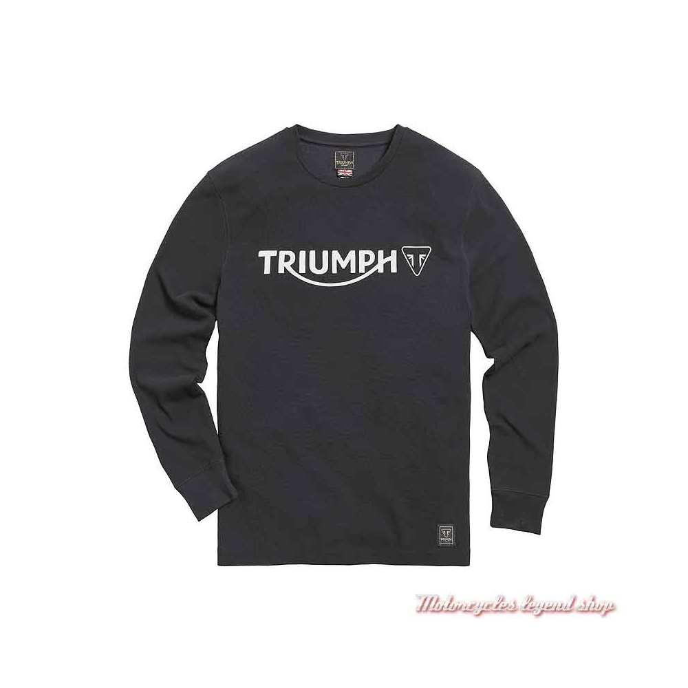 Tee-shirt Bettman Jet Black homme Triumph, manches longues, coton, MTLS21010