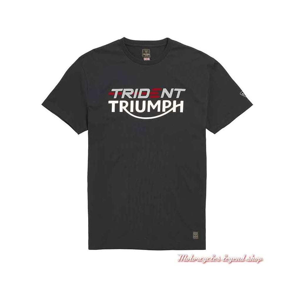 Tee-shirt Trident Triumph homme, noir, manches courtes, coton, MTSS21403
