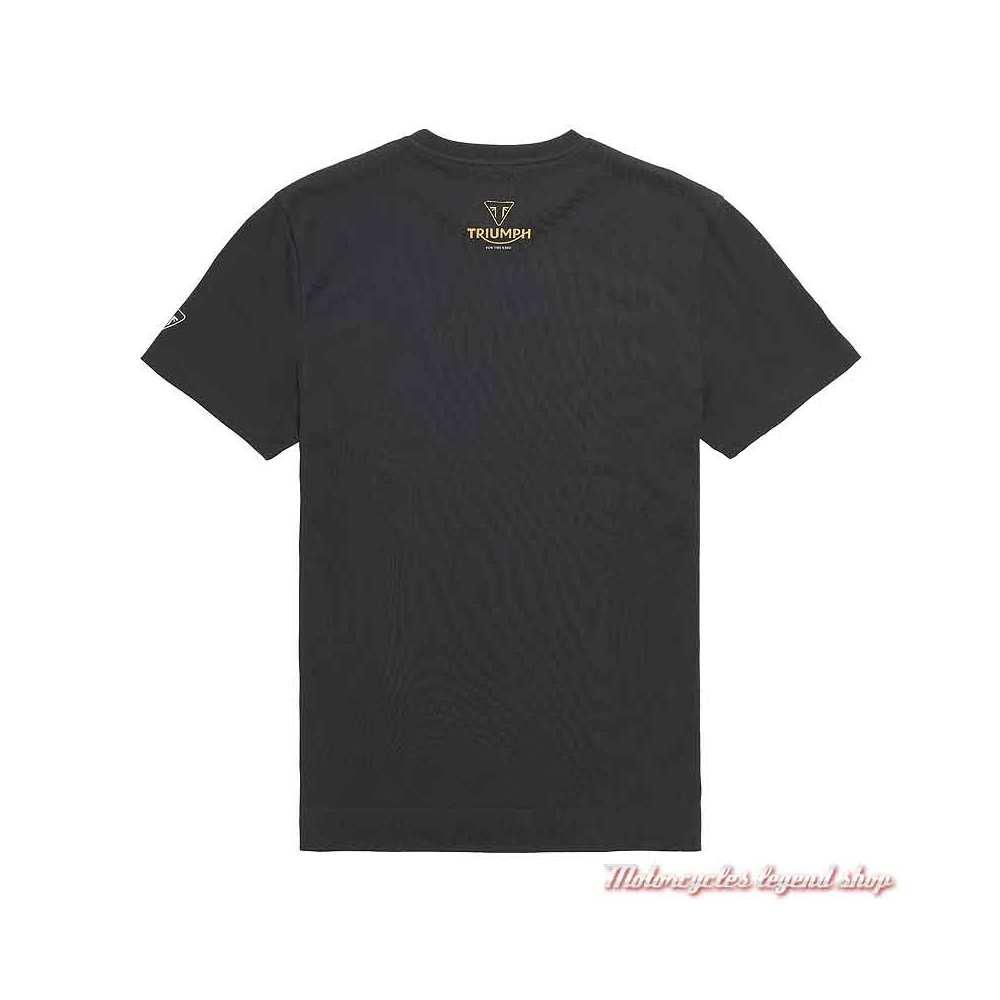 Tee-shirt Trident Triumph homme, noir, manches courtes, coton, dos, MTSS21403