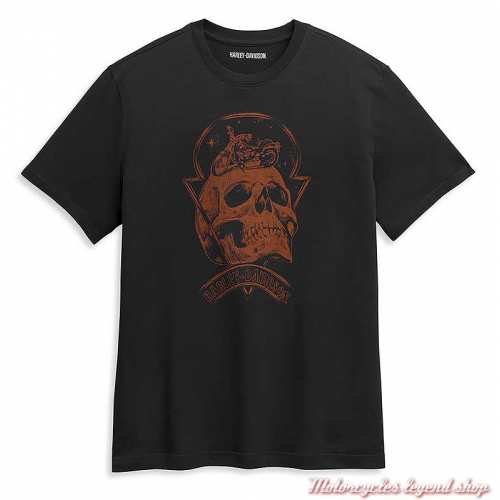 Tee-shirt Skull Space Harley-Davidson homme, noir, manches courtes, coton, 96354-21VM