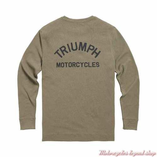 Tee-shirt Dean Khaki homme Triumph, coton nid d'abeille, manches longues, kaki, dos, MTLS21013