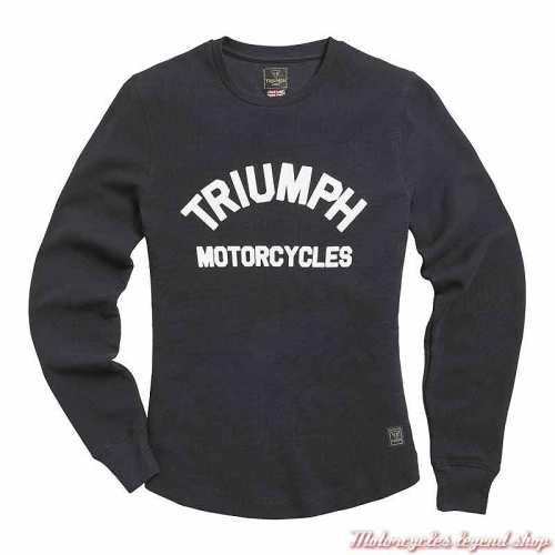 Tee-shirt Swain femme Triumph, noir, manches longues, coton nid d'abeille, MTLS21020