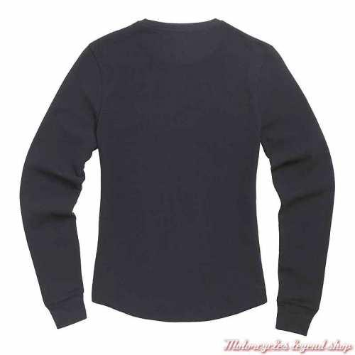 Tee-shirt Swain femme Triumph, noir, manches longues, coton nid d'abeille, dos, MTLS21020