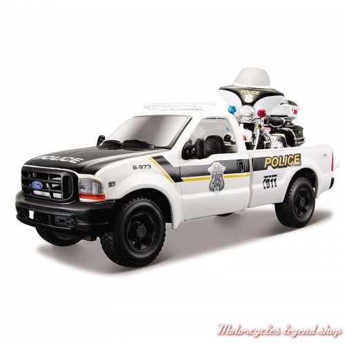Miniature Pickup Ford F-350 et Electra Glide Police Harley-Davidson, blanc, noir, 1/24, 32161-32186