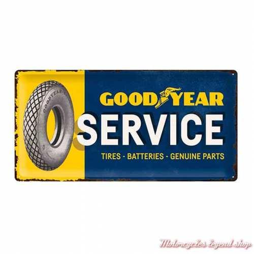 Plaque métal Goodyear Service 25 x 50 cm, aspect vieilli, 27024