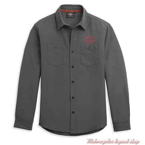 Chemise HD-MC Logo Harley-Davidson homme, grise, manches longues, polyester, 96341-21VM