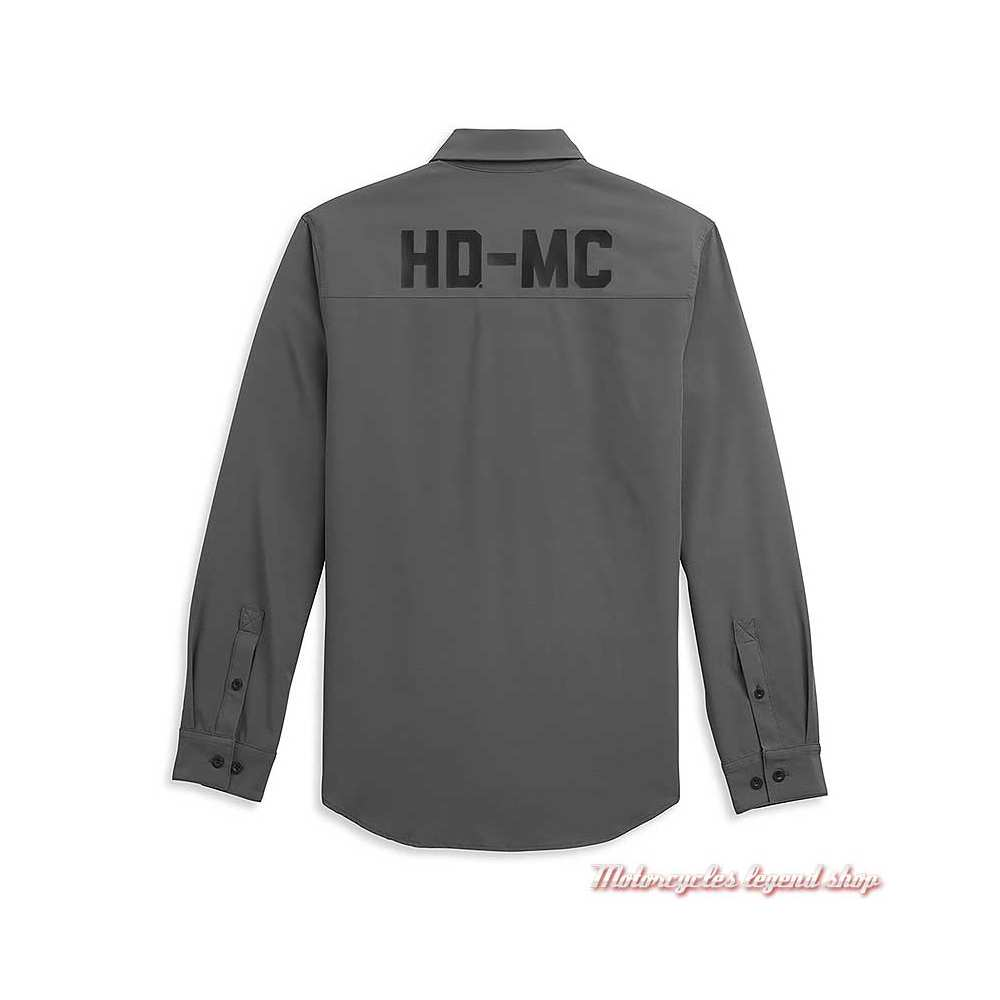 Chemise HD-MC Logo Harley-Davidson homme, grise, manches longues, polyester, dos, 96341-21VM