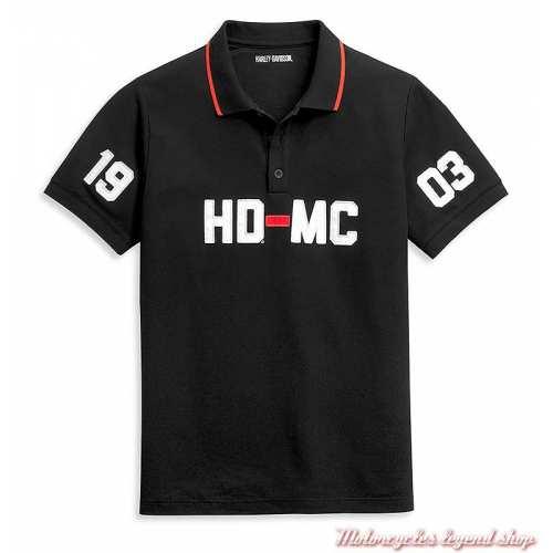 Polo HD-MC Logo Harley-Davidson homme, noir, manches courte, coton, polyester piqué 96356-21VMs