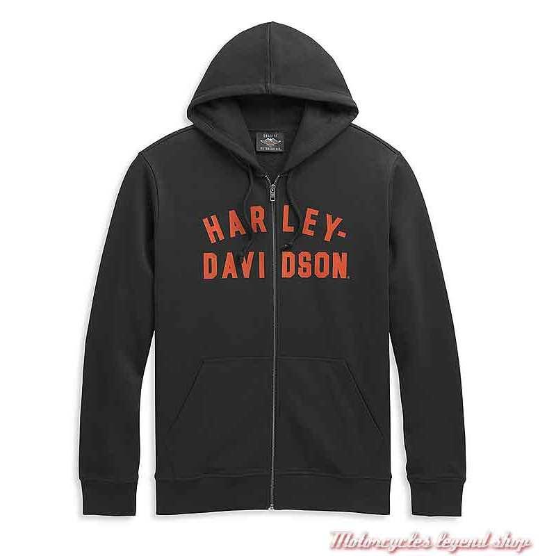 Sweatshirt Winged Eagle Logo Harley-Davidson homme, zippé, à capuche, noir, orange, coton, 96451-21VM