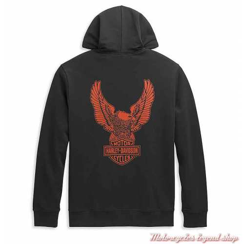 Sweatshirt Winged Eagle Logo Harley-Davidson homme, zippé, à capuche, noir, orange, coton, dos 96451-21VM