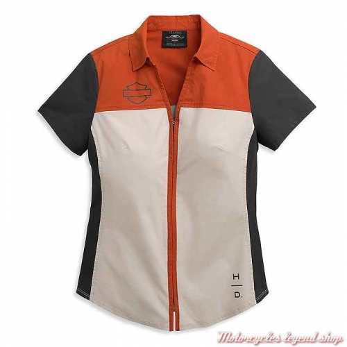 Chemisier Horizon Logo Harley-Davidson femme, zippée, manches courtes, orange, écru, noir, coton 96395-21VW