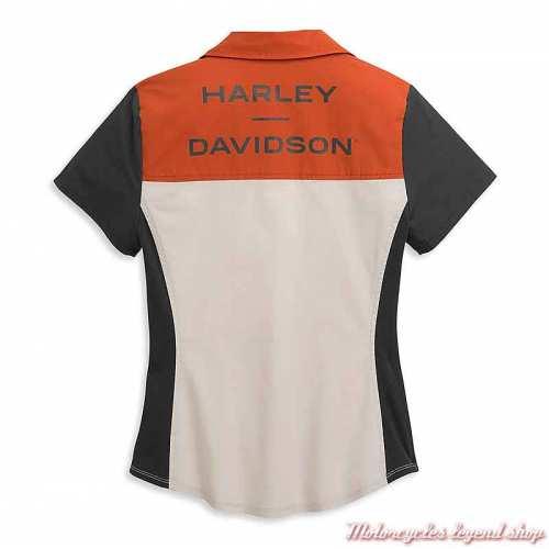 Chemisier Horizon Logo Harley-Davidson femme, zippée, manches courtes, orange, écru, noir, coton, dos 96395-21VW