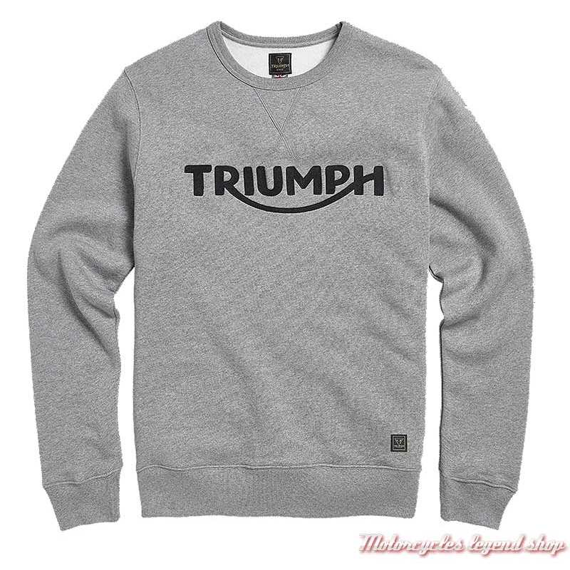 Sweatshirt Blackawton grey homme Triumph, col rond, gris clair, coton, MSWS20000