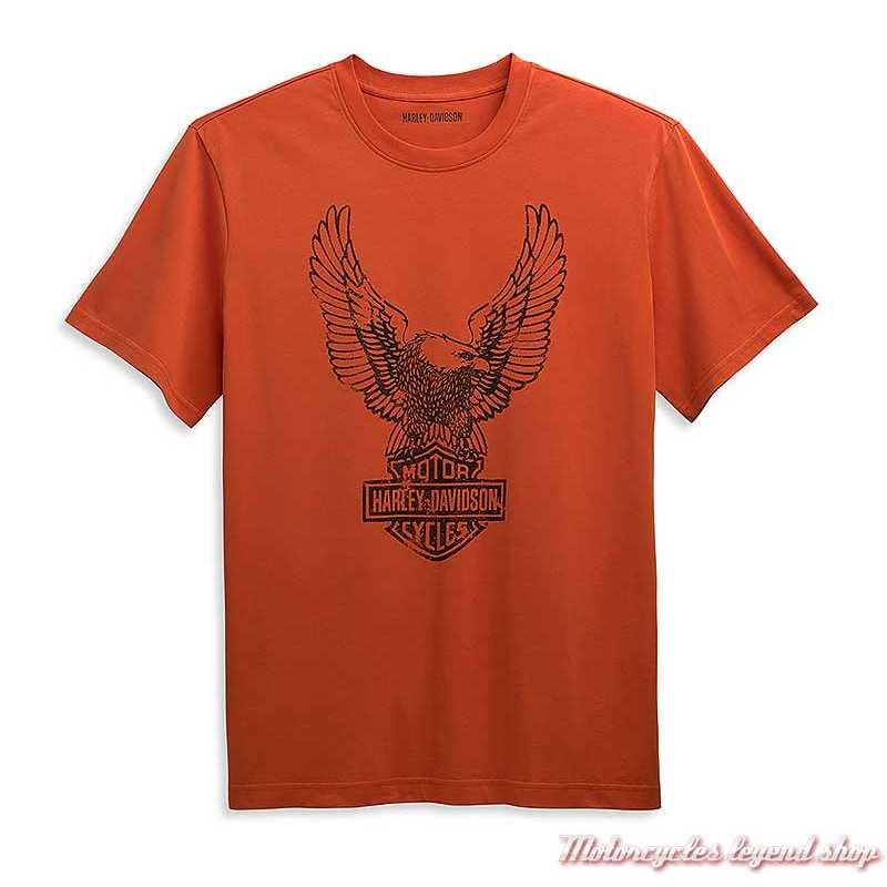 Tee-shirt Eagle Harley-Davidson homme, orange, manches courtes, coton, 96358-21VM