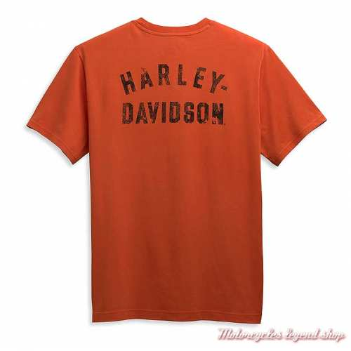 Tee-shirt Eagle Harley-Davidson homme, orange, manches courtes, coton, dos, 96358-21VM