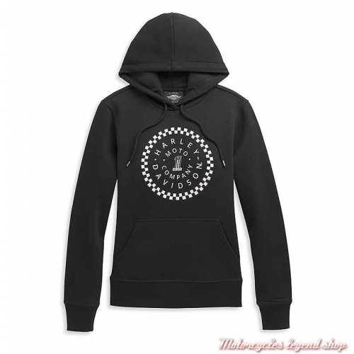 Sweatshirt One Circle à capuche Harley-Davidson femme, noir, coton et polaire, 96388-21VW