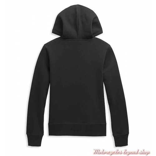 Sweatshirt One Circle à capuche Harley-Davidson femme, noir, coton et polaire, dos, 96388-21VW