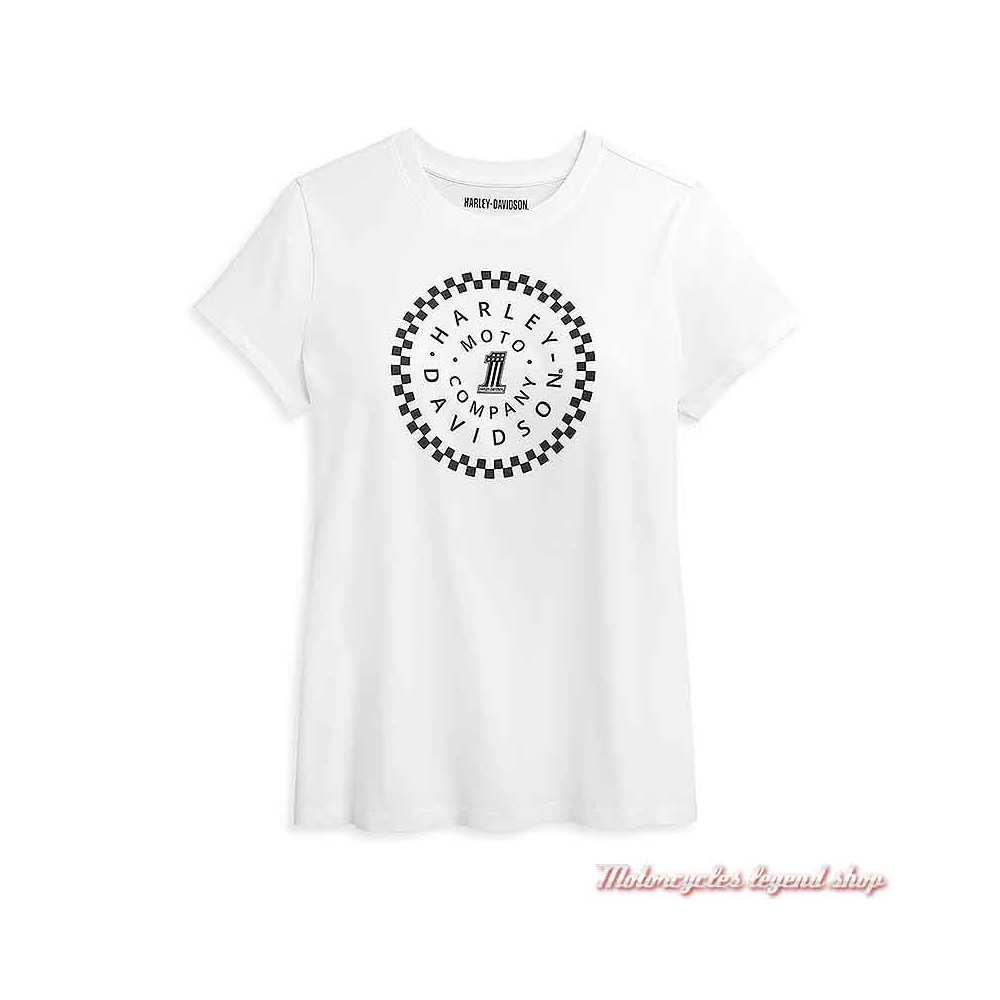 Tee-shirt One Circle Harley-Davidson femme, blanc, coton, manches courtes, 96406-21VW
