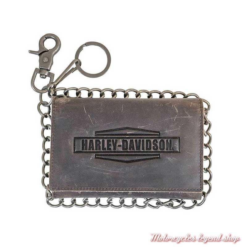 Portefeuille cuir Crazy Horse Harley-Davidson, marron vieilli, 3 volets, chaine, MCH8416-BRNBLK