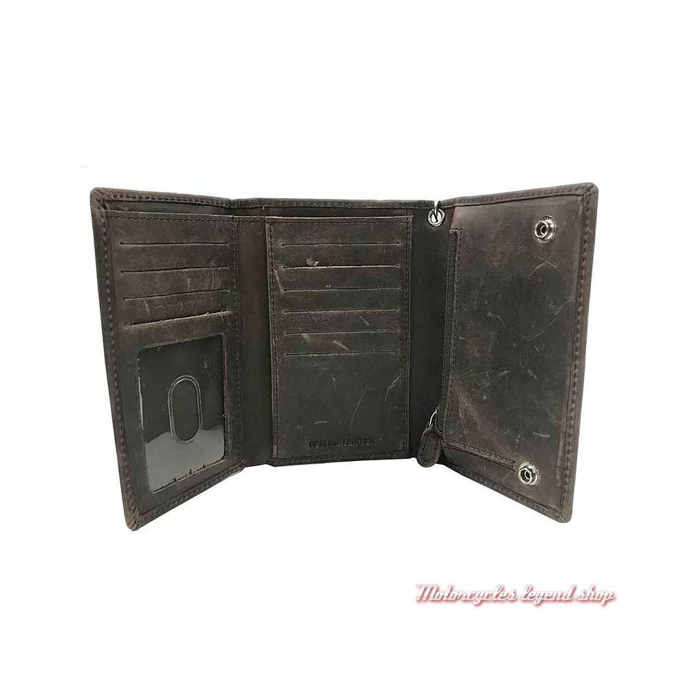 Portefeuille cuir Crazy Horse Harley-Davidson, marron vieilli, 3 volets, chaine, interieur, MCH8416-BRNBLK