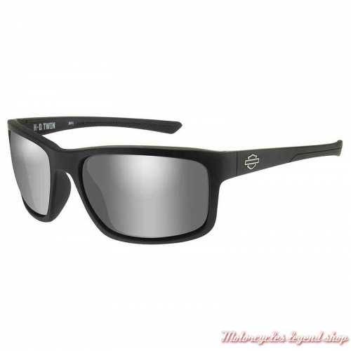 Lunettes solaire Twin black Harley-Davidson noir mat, verres gris silver, HATWN02