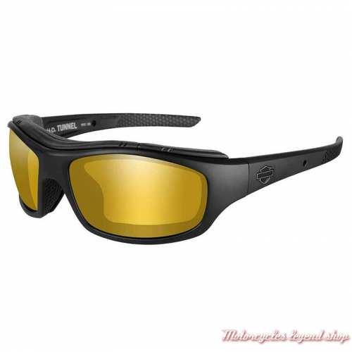 Lunettes solaires Tunnel polarisant Harley-Davidson, noir mat, jaune ambré miroir, HDTNL09