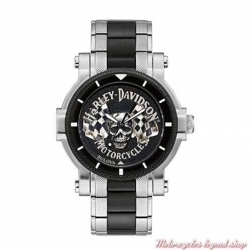 Montre Skull Harley-Davidson homme à aiguilles, bracelet métal acier et noir, 78A124