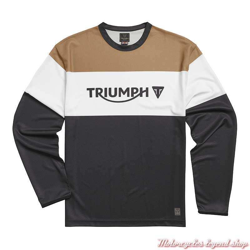 Maillot Adventure homme Triumph, manches longues, noir, blanc, gold, polyester, MTLS21031