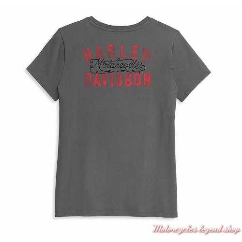 Tee-shirt Harley-Davidson femme, gris, manches courtes, col rond, coton, dos, 96409-21VW