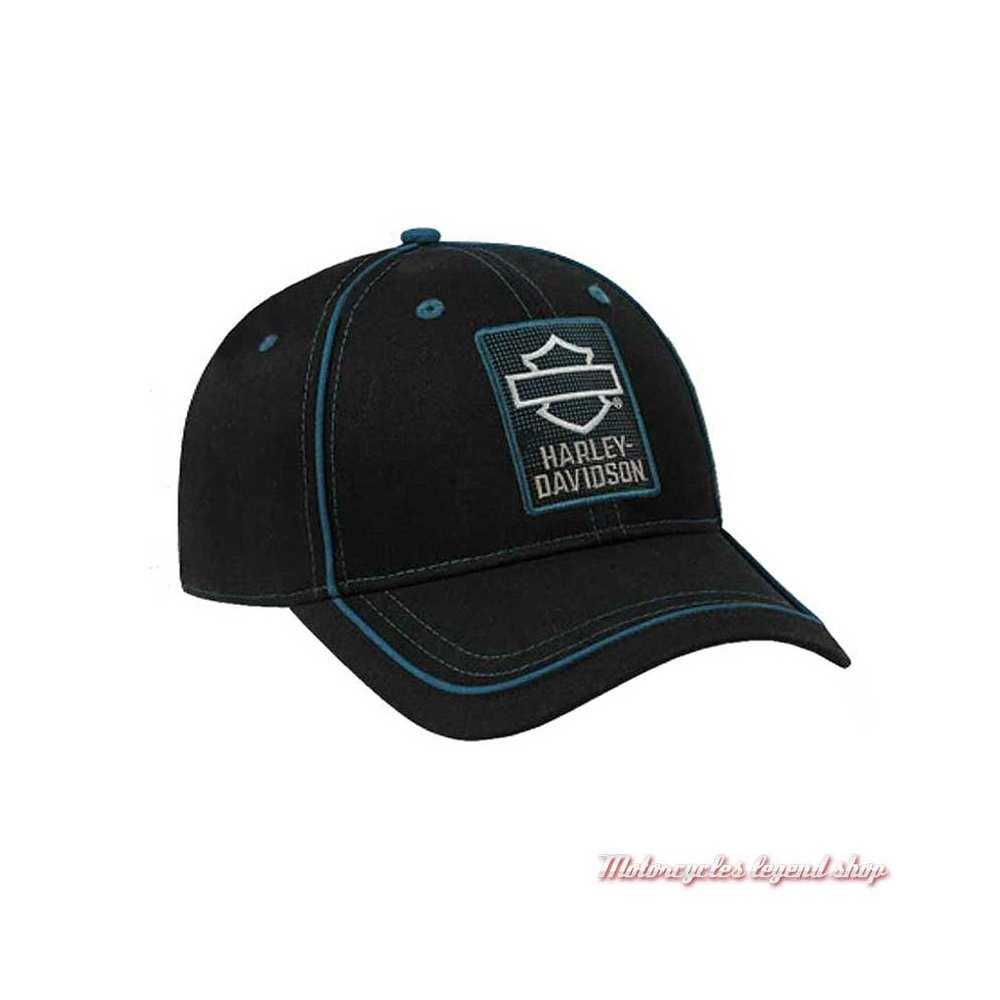 Casquette baseball Insignia Harley-Davidson, réglable, coton, noir, bleu, BCC34430