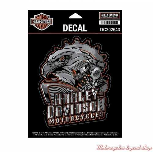Sticker Eagle Engine Harley-Davidson, gris, orange, DC202643