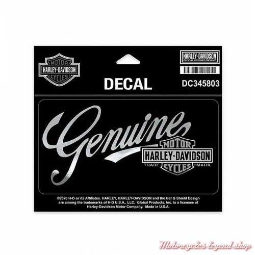 Sticker Premium Harley-Davidson, gris chrome, noir, DC345803