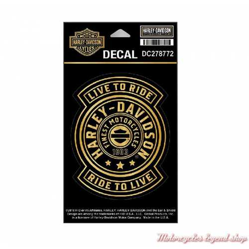 Sticker Gold Harley Shield Harley-Davidson, noir, doré, DC278772