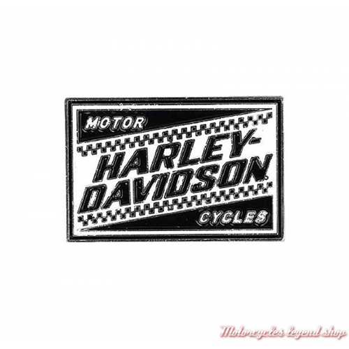 Pin's Ignition Harley-Davidson noir et blanc, damier, P334882
