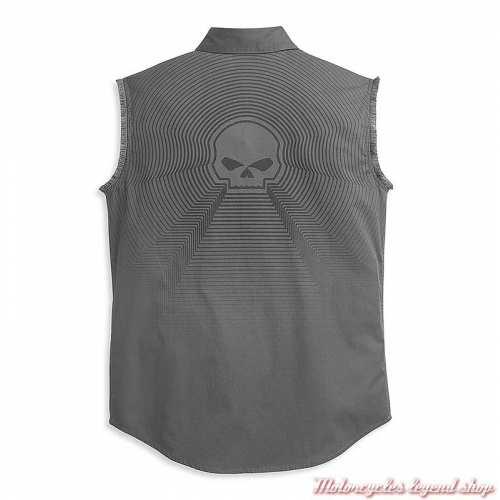 Chemise sans manche Radiating Skull Harley-Davidson, gris, coton, dos, 96348-21VM
