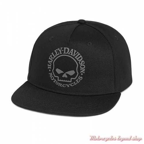 Casquette Willie G. Skull Harley-Davidson, noir, coton, visière plate, réglable, 97687-21VM
