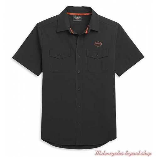Chemisette Performance Harley-Davidson homme, noir, orange, polyester ripstop, 96330-21VM