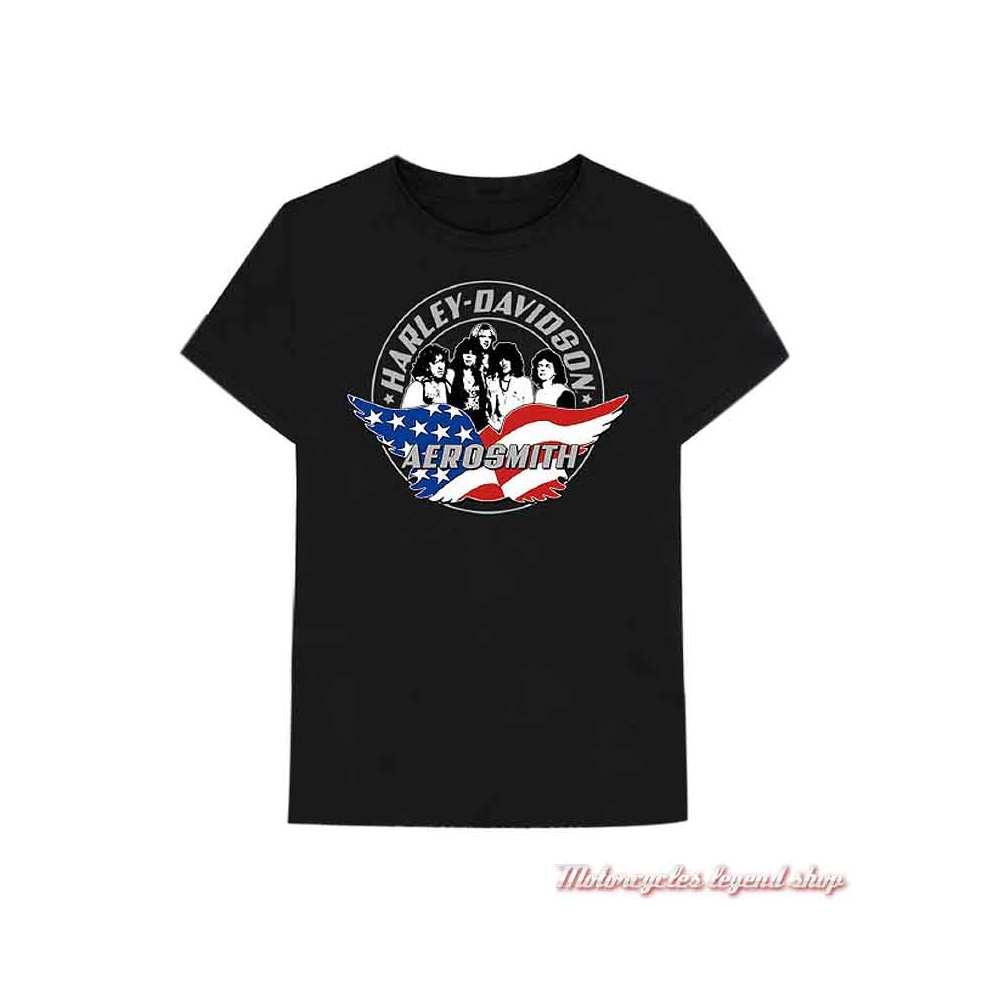 Tee-shirt Aerosmith Force One Harley-Davidson homme, noir, manches courtes, coton, 40290569