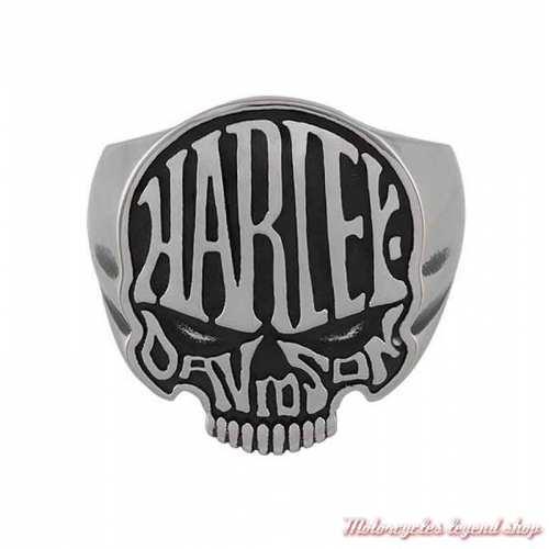 Bague acier Calavera Harley-Davidson homme Skull noir acier, HSR0082